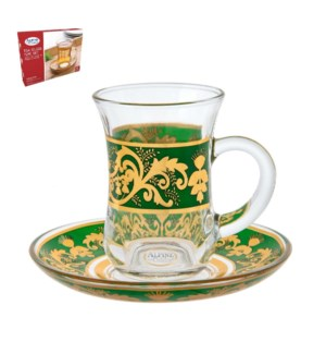 Tea Glass 6 by 6 Set 5Oz Gold Design                         643700265975