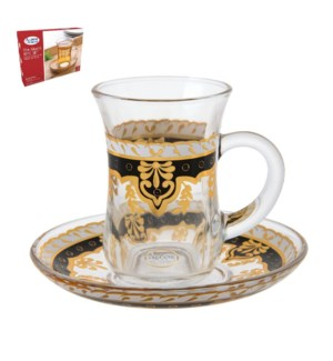 Tea Glass 6 by 6 Set 5Oz Gold Design                         643700265982