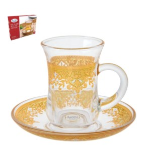 Tea Glass 6 by 6 Set 5Oz Gold Design                         643700265999