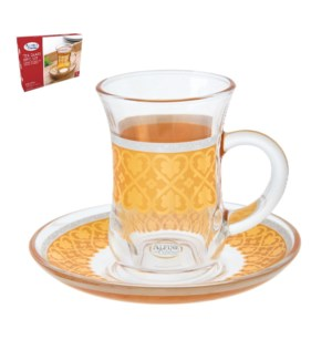 Tea Glass 6 by 6 Set 5Oz Gold Design                         643700266002