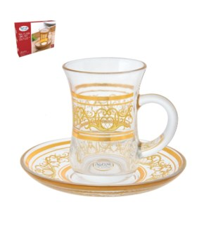 Tea Glass 6 by 6 Set 5Oz Gold Design                         643700266019