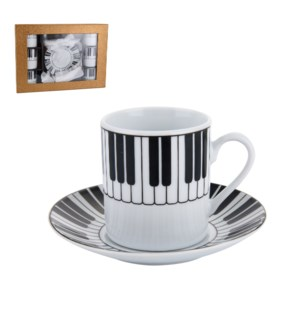 Coffee Cup and Saucer 6 by 6, 3.5Oz, with Full Decal Super W 643700266866