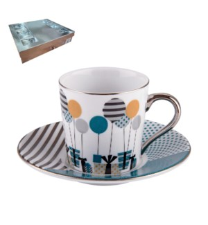 Coffee Cup and Saucer 6 by 6, 3Oz, with Silver Rim and handl 643700267191