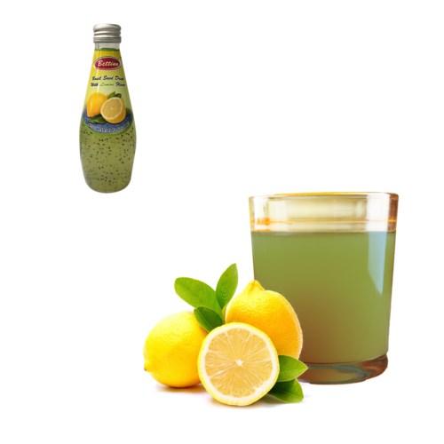 Basil Seed Drink Lemon Flavors Glass 290mL Bettino           643700271297