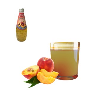 Basil Seed Drink Peach Flavors Glass 290mL Bettino           643700271303