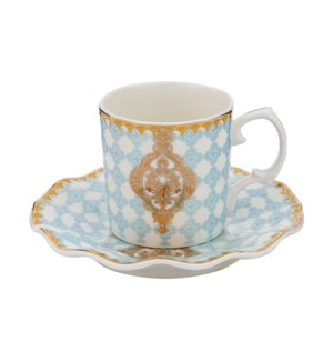 Coffee Cup and Saucer 6 by 6, 3.5Oz, New Bone China, Gold De 643700273901