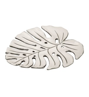 Leaf Shape Plate Dolomite 13in Silver Design                 643700274687