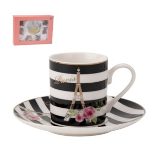 Coffee Cup and Saucer 6 by 6, 4Oz New Bone China             643700276049