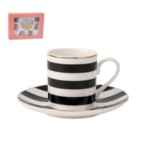 Coffee Cup and Saucer 6 by 6, 4Oz New Bone China Black       643700276063