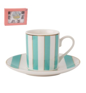 Coffee Cup and Saucer 6 by 6, 4Oz New Bone China Green       643700276070
