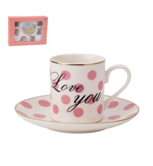 Coffee Cup and Saucer 6 by 6, 4Oz New Bone China             643700276100