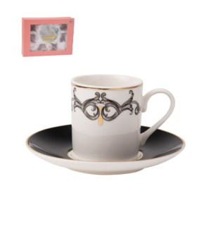 Coffee Cup and Saucer 6 by 6, 4Oz New Bone China             643700276117