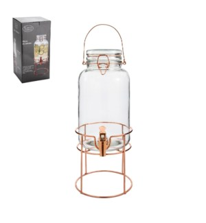 Glass Dispenser 3.5L with Metal Rose Gold Stand              643700278524