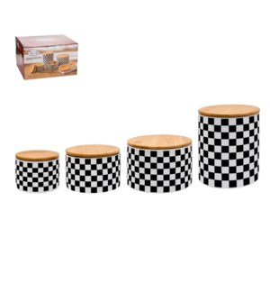 Canister 4pc Set Ceramic 13oz, 25oz, 48oz, 51oz with Bamboo  643700280213