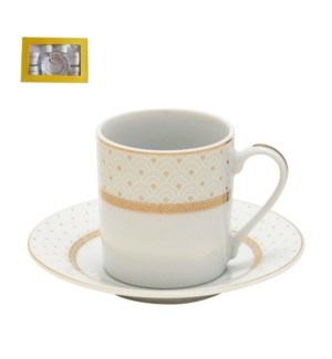 Coffee Cup and Saucer 6 by 6, 3oz with Gold Decal, Porcelain 643700282590