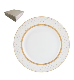 Dinner Plate 10.5in with Gold Decal, Porcelain Super White,  643700282743