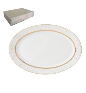 Oval Plate 12in with Gold Decal, Porcelain Super White, ROME 643700282842