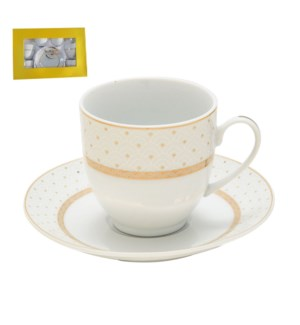 Tea Cup and Saucer 6 by 6, 6oz with Gold Decal, Porcelain Su 643700282644