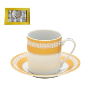 Coffee Cup and Saucer 6 by 6, 3oz with Gold Decal, Porcelain 643700282606