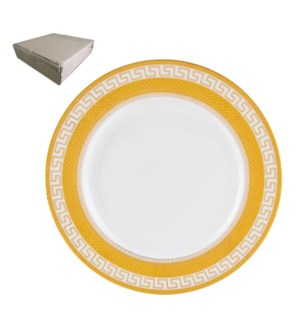 Dinner Plate 10.5in with Gold Decal, Porcelain Super White,  643700282750