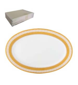 Oval Plate 12in with Gold Decal, Porcelain Super White, FLOR 643700282859