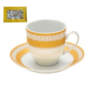 Tea Cup and Saucer 6 by 6, 6oz with Gold Decal, Porcelain Su 643700282651