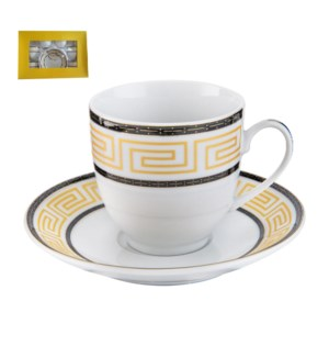 Tea Cup and Saucer 6 by 6, 6oz with Gold Decal, Porcelain Su 643700282668