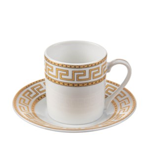 Coffee Cup and Saucer 6 by 6, 3oz with Gold Decal, New Bone  643700282620