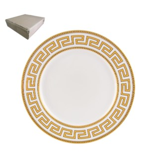 Dinner Plate 10.5in with Gold Decal, New Bone China, Milan   643700282774