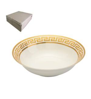 Salad Bowl 9in with Gold Decal, New Bone China, Milan        643700282828