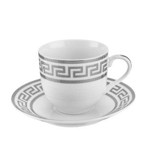 Tea Cup and Saucer 6 by 6,7oz,Porcelain Super White Round Sh 643700311269