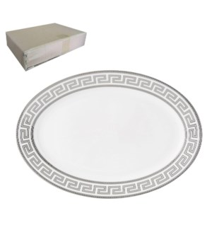 Oval Plate 12in with Silver Decal, New Bone China, NAPLES    643700282880