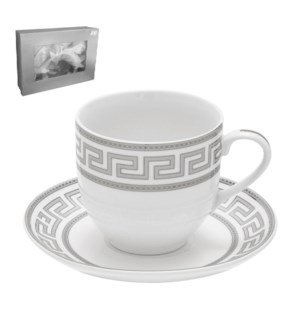 Tea Cup and Saucer 6 by 6, 6oz with Silver Decal, New Bone C 643700282682