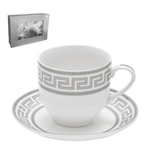 Tea Cup and Saucer 6 by 6,7oz,Porcelain Super White Round Sh 643700311276
