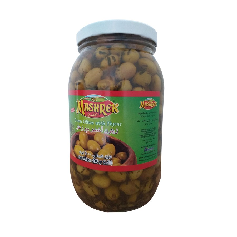 Green Olives with Thyme 2000g Al Mashrek                     643700284112