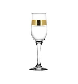 Champagne Glass 6pc 190mL Set Gold Pyramid                   64370028439