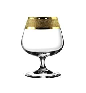 Brandy Glass 6pc 13.80 OZ  Set Gold Carat Pattern            64370028442