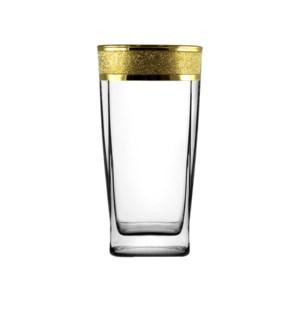 Cocktail Glass 6pc 10.30 OZ Set Gold Carat Pattern           64370028443