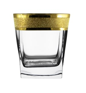 Whiskey Glass 6pc 10.50 OZ Set Gold Carat Pattern            64370028444