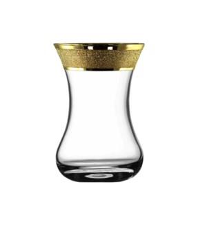 Tea Glass 6pc 4.2 oz  Set Gold Carat Pattern                 64370028445