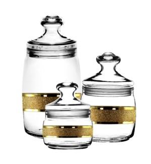 Bulk Can Glass 3pc 1100mL 500mL 420mL Set Gold Carat Pattern 64370028447