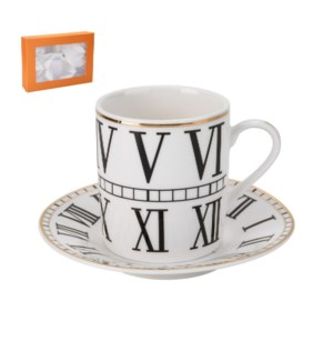 Coffee Cup and Saucer 6 by 6, 3.5Oz with Gold Decal, New Bon 643700286956