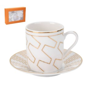 Coffee Cup and Saucer 6 by 6, 3.5Oz with Gold Decal, New Bon 643700286970
