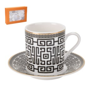 Coffee Cup and Saucer 6 by 6, 3.5Oz with Gold Decal, New Bon 643700287007