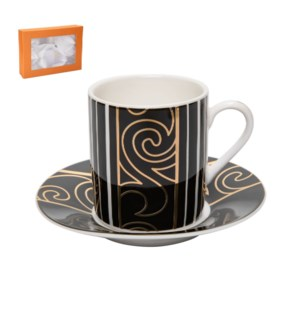 Coffee Cup and Saucer 6 by 6, 3.5Oz with Gold Decal, New Bon 643700287069