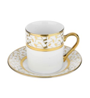Coffee Cup and Saucer 3.5oz Gold Decal Porcelain             643700292278