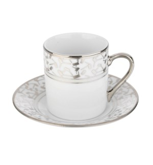 Coffee Cup and Saucer 3.5oz Silver Decal Porcelain           643700292285