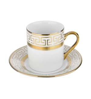 Coffee Cup and Saucer 3.5oz Gold Decal Porcelain             643700292292