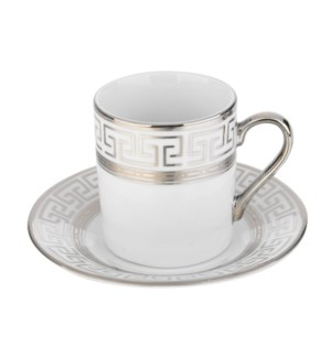 Coffee Cup and Saucer 3.5oz Silver Decal Porcelain           643700292308