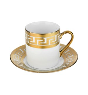 Coffee Cup and Saucer 3.5oz Gold Decal Porcelain             643700292315